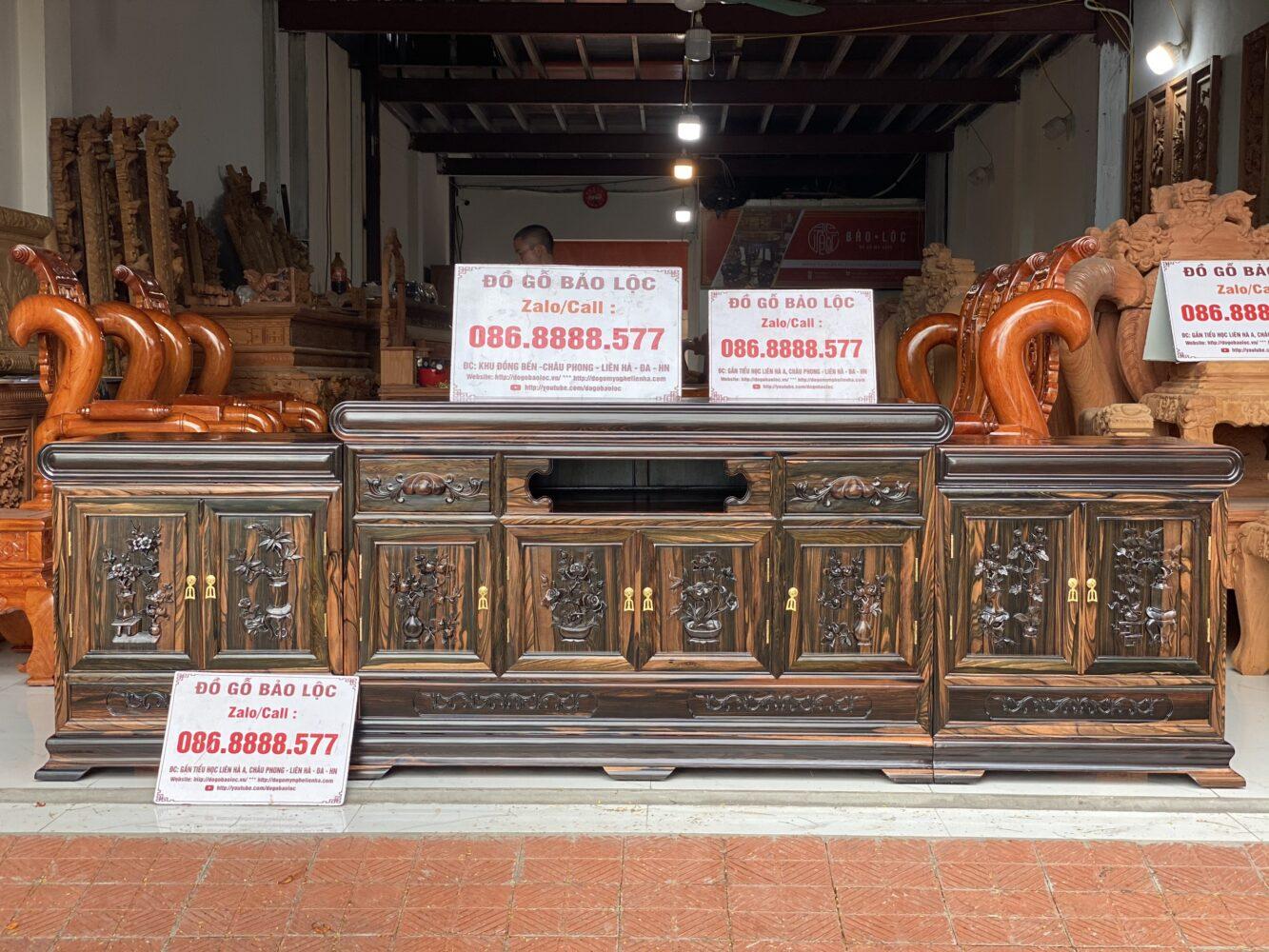 Kệ Tivi Mõ 3 Cục Đồng Tiền 2m6 Gỗ Mun Hoa Lào